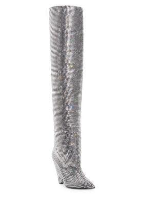 b1606db9a5e Saint Laurent Niki Swarovski Crystal-Embellished Leather Knee Boots In Black