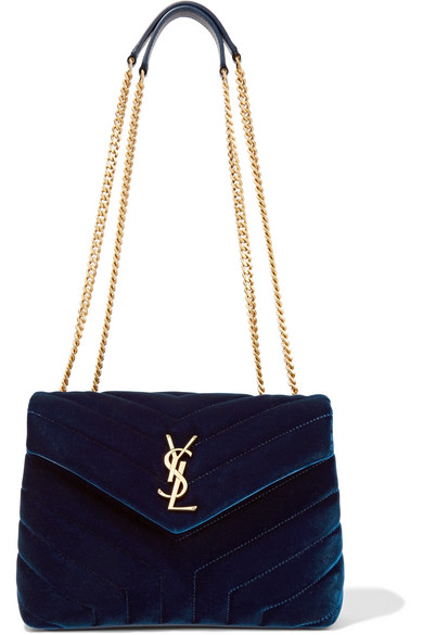 2db17859c6f Saint Laurent Loulou Small Monogram Matelasse Velvet Chain Shoulder Bag In  Blue