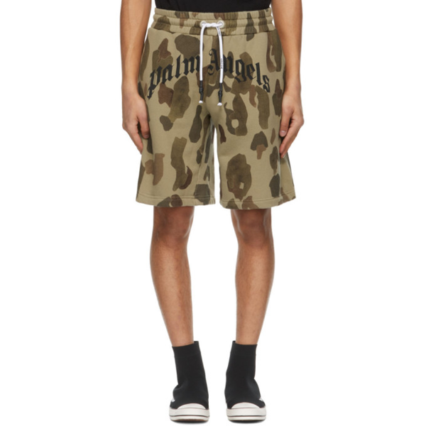 Palm Angels Khaki Camo Curved Logo Lounge Shorts In Military Bl