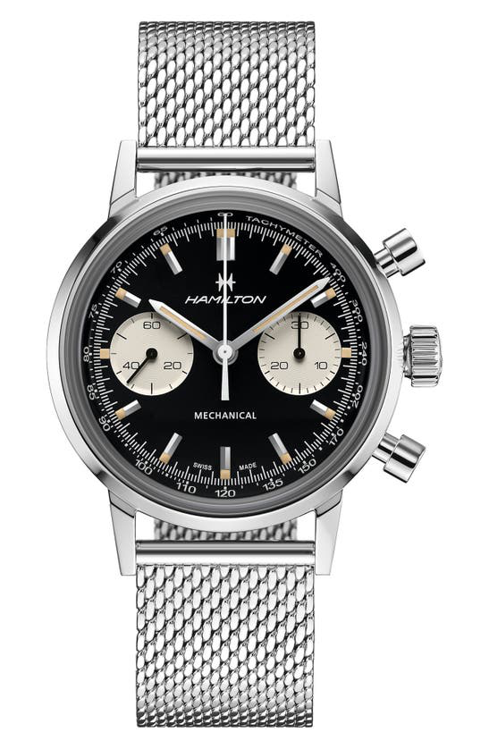 Hamilton American Classic Intra-matic Chronograph Mesh Strap Watch, 40mm In Stainless Steel At Nordstrom