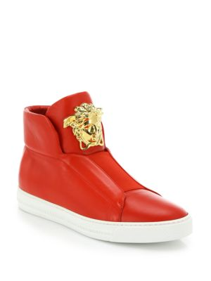 Versace Palazzo Idol Leather High-top Sneaker, Red In Cardinal-red