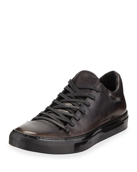 John Varvatos Men's 315 Reed Leather Low-Top Sneakers, Black In Gray