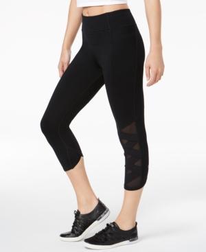 Calvin Klein Performance Cropped Cutout Leggings In Black