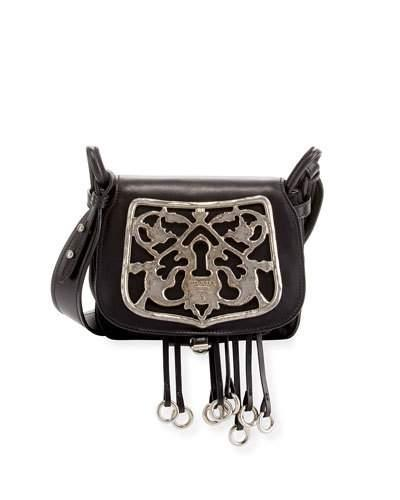 b570bd1b8cbc Prada Corsaire Leather Shoulder Bag With Metal Key Lock In Black ...