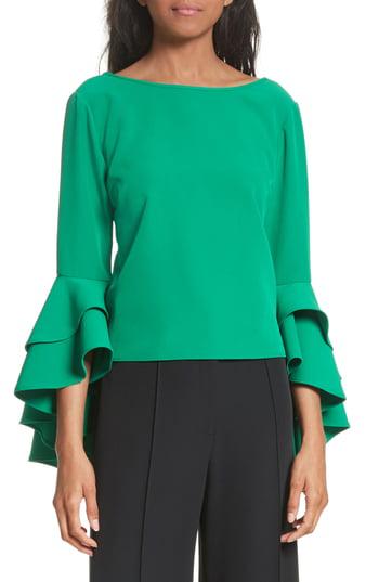 Milly Annie Cascade Sleeve Stretch Cady Top In Emerald
