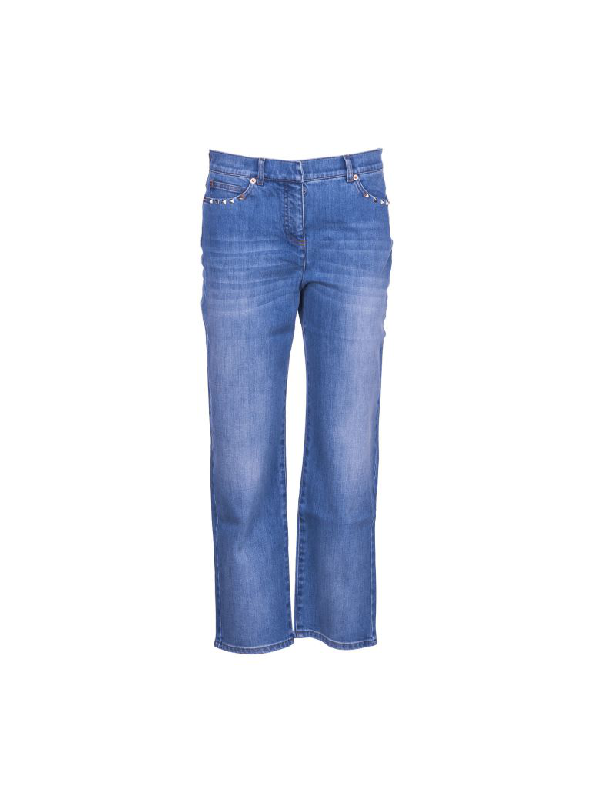 Valentino Studs Jeans In Light Blue