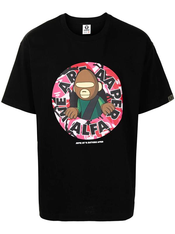 Aape By A Bathing Ape Black 'we Are Aaper Alfa' T-shirt In Bkx Black