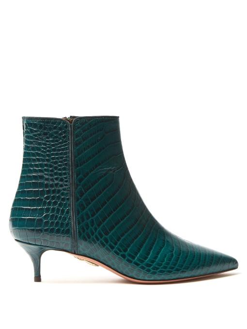4a1e6349a8e1 Aquazzura Quant Crocodile-Effect Leather Ankle Boots In Dark Green ...