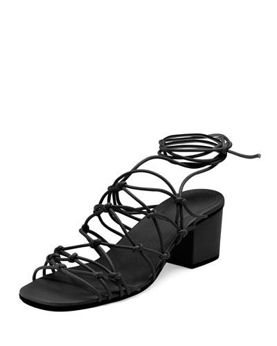 ChloÉ Knotted Leather Low-heel Gladiator Sandal, Black