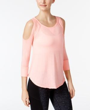 Calvin Klein Performance Cold-Shoulder Top In Flamingo