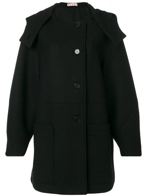 Marni Hooded Coat In Black