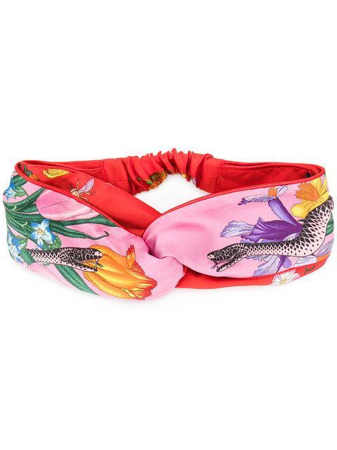 c37e7692406 Gucci Flora Snake Silk Headband In Pink