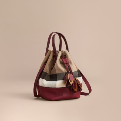 e0329345f Burberry Medium Canvas Check And Leather Bucket Bag In Burgundy Red ...