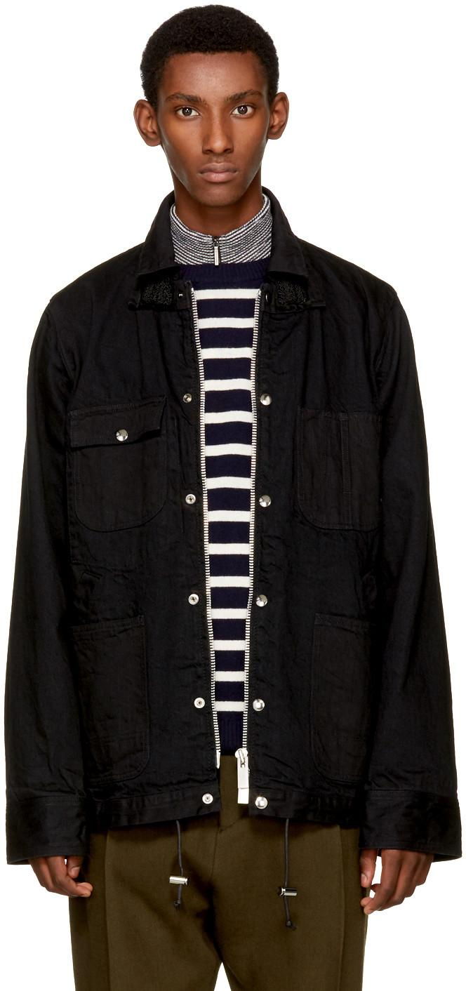 Sacai Denim Coverall Jacket In Blue