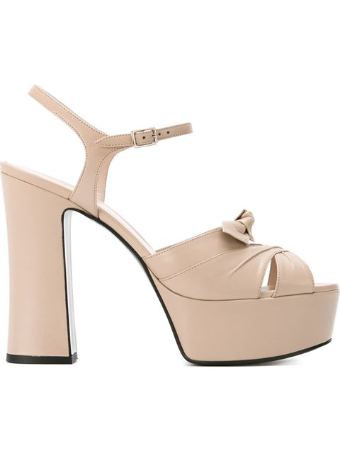 Saint Laurent Candy Satin Wedge Platform Sandals In Rose Poudre