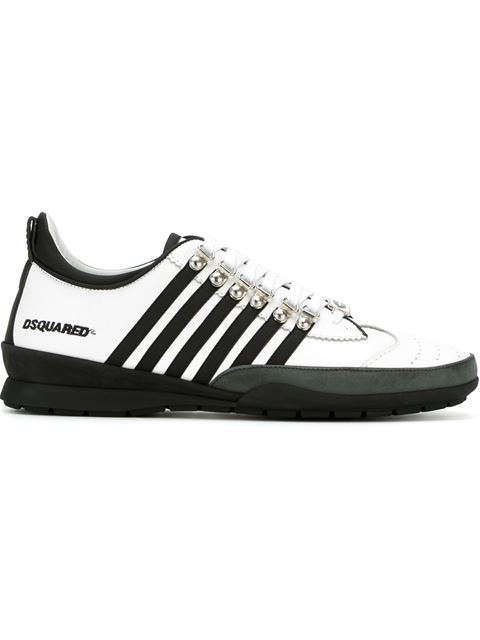 Dsquared2 White And Black Leather And Rubber Sneaker