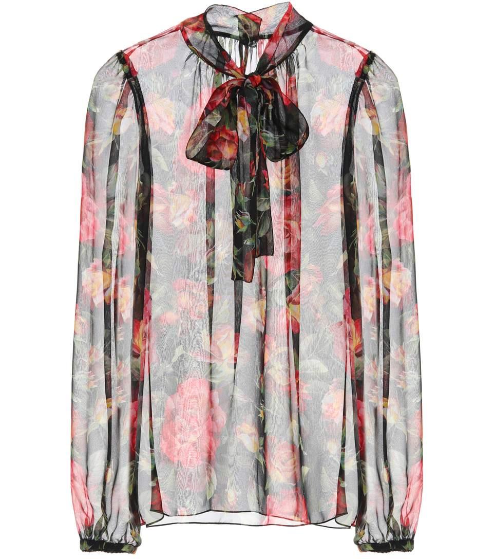 b01b3feec16f6f Dolce   Gabbana Printed Silk Pussy-Bow Blouse In Multicoloured ...