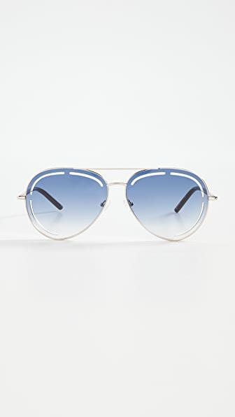 Linda Farrow Luxe X Matthew Williamson Foxglove Sunglasses In Light Gold/chocolate/blue
