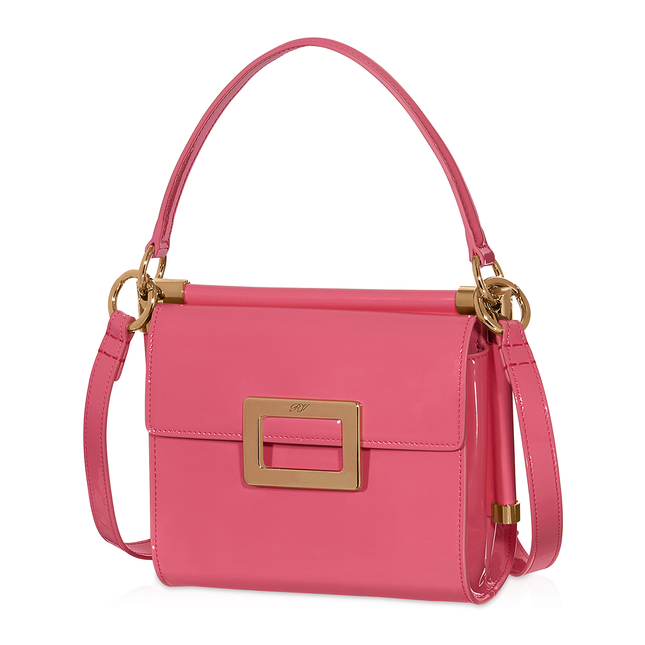 Roger Vivier Miss Viv Mini Shoulder Bag In Patent Leather In Pink