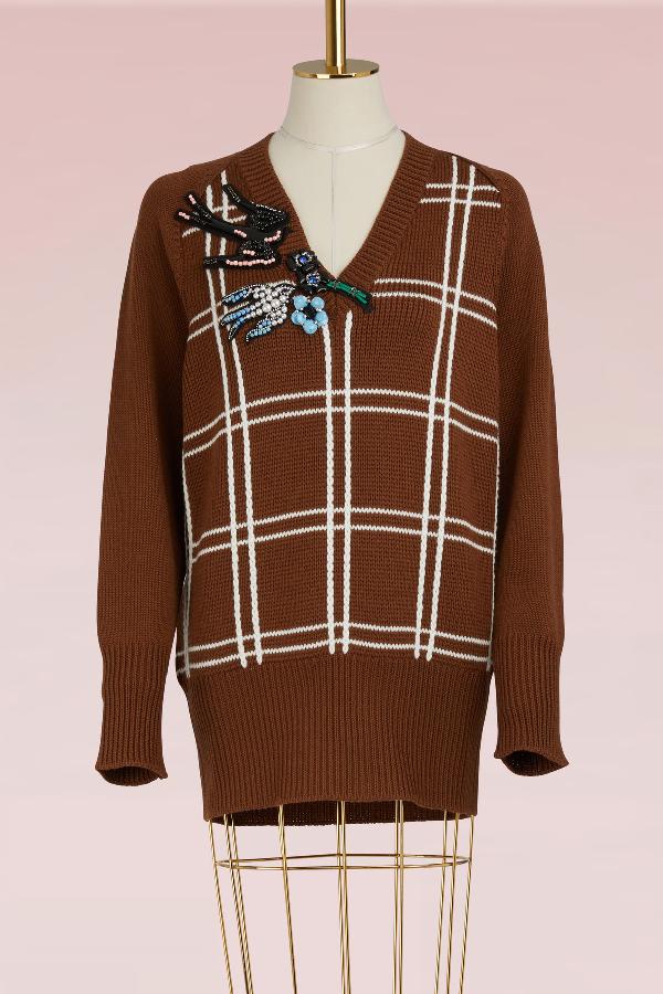Miu Miu Embellished Braid-embroidered Wool Sweater In Tabacco