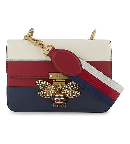 b774a002f5c Gucci Jewelled Bee Leather Shoulder Bag In Blue Red White