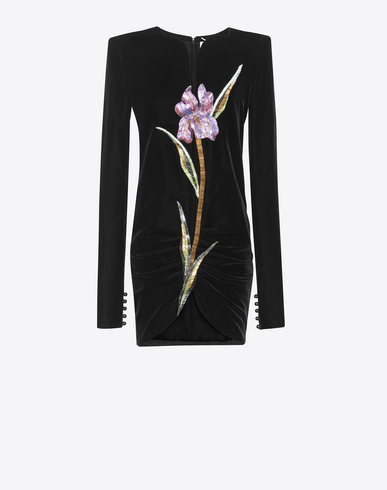 Saint Laurent Mini Dress With Square Shoulders And Multicolored Embroidery In Black Velvet