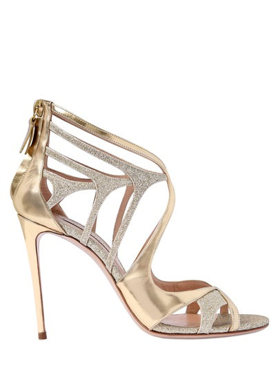 Casadei 100mm Metallic Leather Cage Sandals, Gold