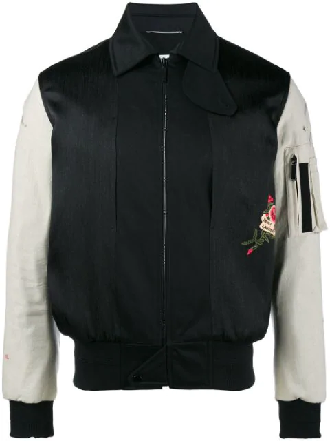 0ad73af29 Embroidered Bomber Jacket In Black Military Cotton With Off White Sleeves
