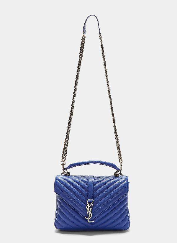 99b078c94e3 Saint Laurent Medium College Bag In Royal Blue MatelassÉ Leather ...