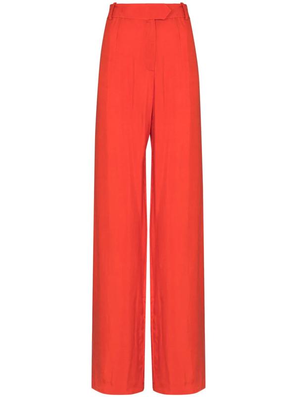 Aleksandre Akhalkatsishvili High Waist Wide Leg Trousers In Orange