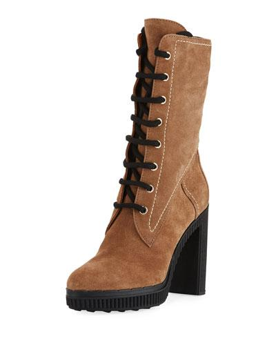 Tod's Lace-Up Suede Block-Heel Hiking Boot In Brown