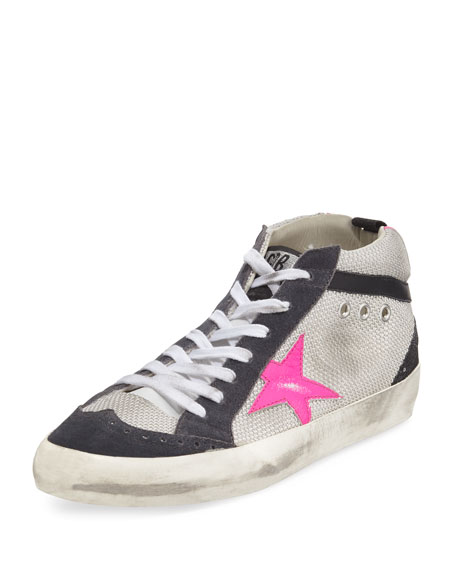 5f0f29dca708 Golden Goose Mid Star Sneakers With Suede And Leather In White ...