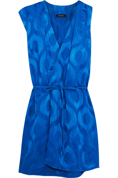Isabel Marant Woman Sudley Wrap-effect Satin-jacquard Dress Bright Blue In Electric Blue