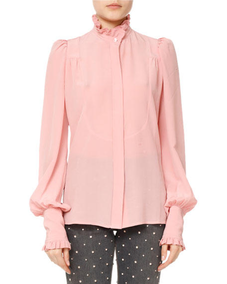 578f36c07a07f Isabel Marant Sloan Ruffled High-Neck Blouse In Pink Purple