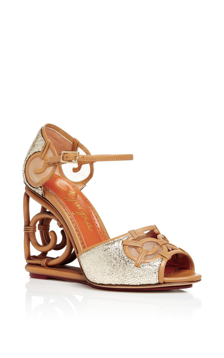 Charlotte Olympia Silver Leather And Rattan Detail Wedges In Ivory/tan