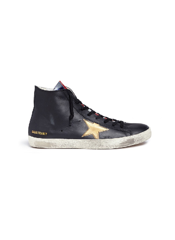 512f54982e1d Golden Goose  Francy  Laminated Flag Leather High Top Sneakers In ...