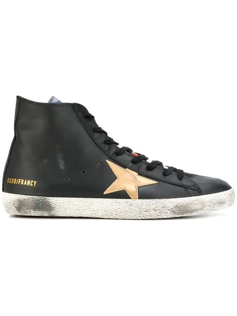 Golden Goose 'francy' Laminated Flag Leather High Top Sneakers In Black