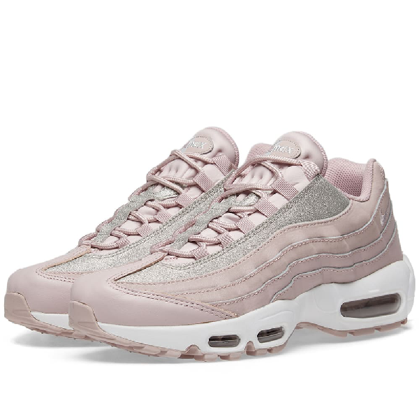 meilleur authentique 84c0b 97ef4 Air Max 95 Glittered Leather And Suede Sneakers in Pastel Pink