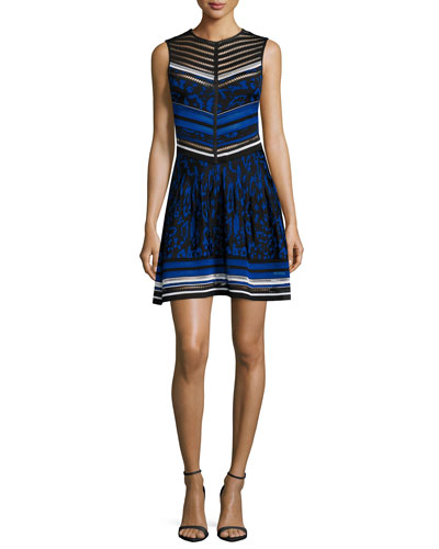 Roberto Cavalli Sleeveless Jacquard Fit-and-flare Dress, Blue In Black/ Blue/ White