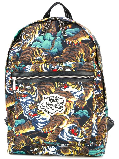 Kenzo Calf Leather-blend Tiger Print Backpack Travel Bag In Multicolour
