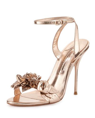 Sophia Webster Lilico Floral Leather 105mm Sandal, Rose Gold