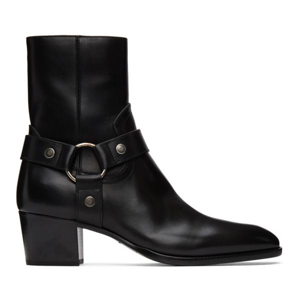 Saint Laurent Black Wyatt Harness Boots In 1000 Black