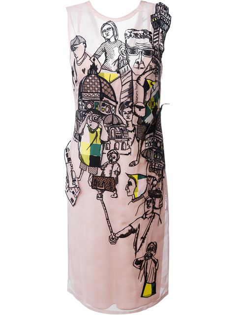 Emilio Pucci Embroidered Silk Organza Dress, Black/nude In Pink