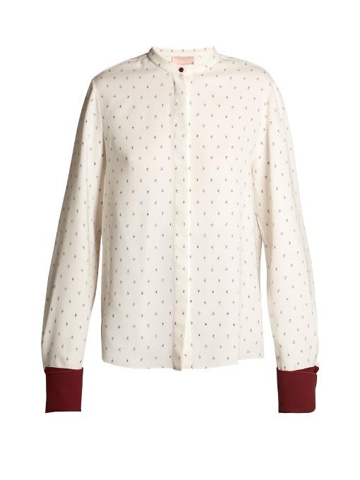Roksanda Carone Geometric-Print Silk Blouse In White Print