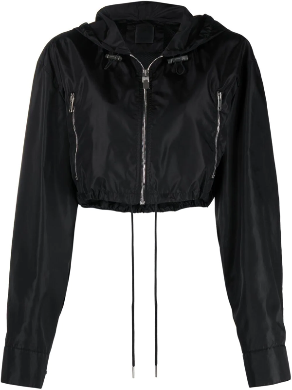 Givenchy Woman Black Short Windbreaker With Logo On The Back