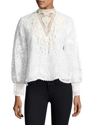 Kobi Halperin Mock Neck Lace Blouse In White