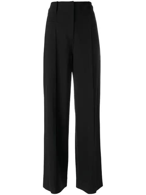 Diane Von Furstenberg Wide-Leg Pintucked Wool-Blend Trousers In Black