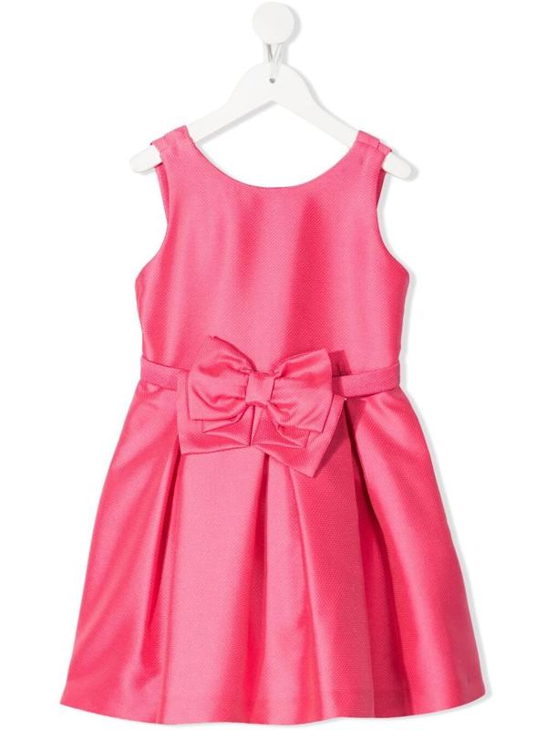 Abel & Lula Kids' Sleeveless Bow Detail Dress In Pink