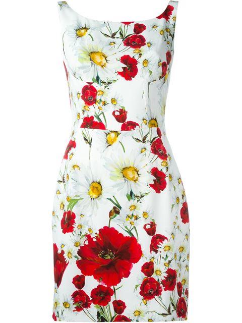 Dolce & Gabbana White Poppy Dress