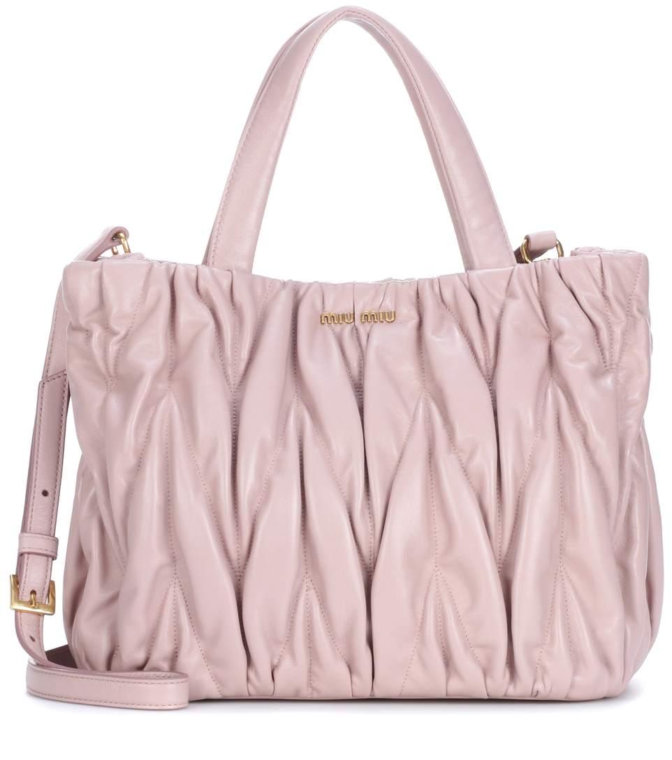 Miu Miu Leather Shoulder Bag In Pink